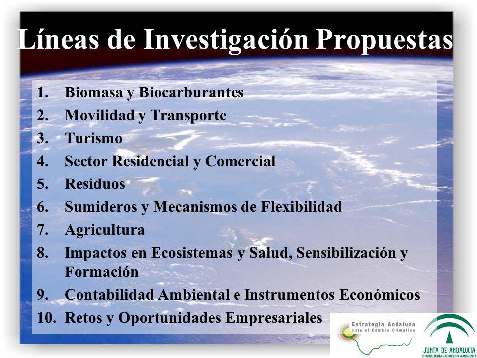 Líneas de Investigación Propuestas 1.Biomasa y Biocarburantes 2.Movilidad y Transporte 3.Turismo 4.Sector Residencial y Comercial 5.Residuos 6.Sumider