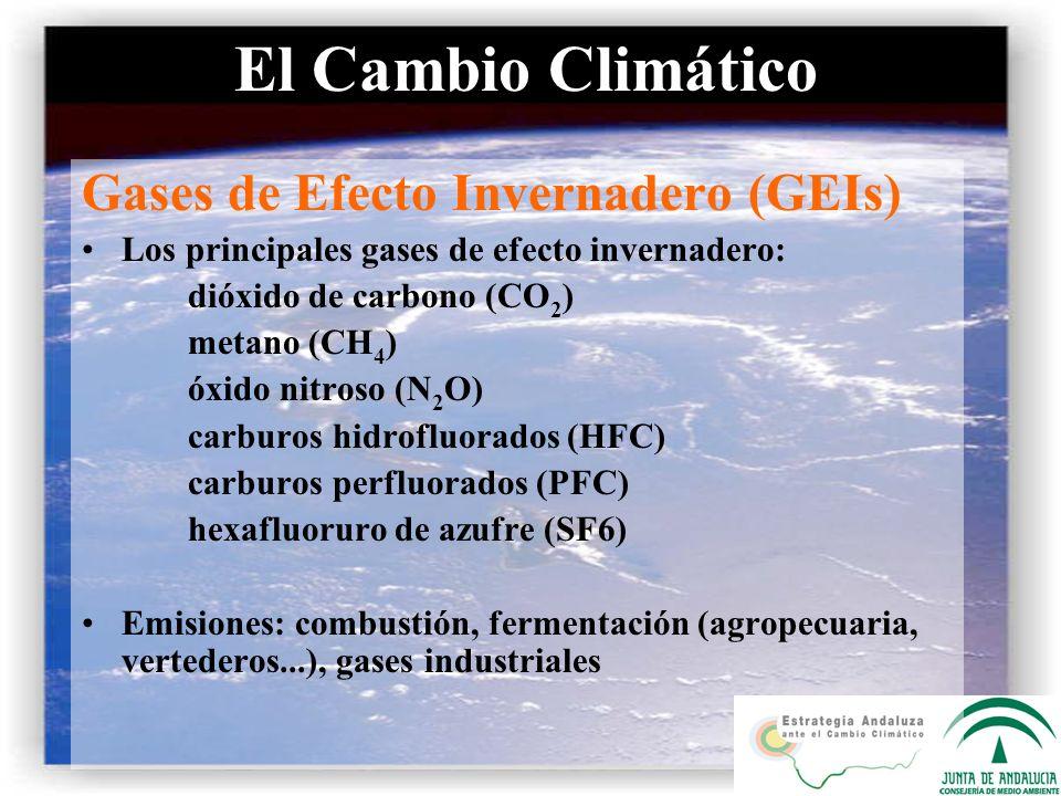 El Cambio Climático Gases de Efecto Invernadero (GEIs) Los principales gases de efecto invernadero: dióxido de carbono (CO 2 ) metano (CH 4 ) óxido ni