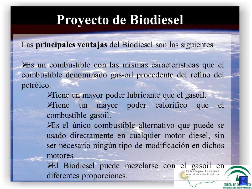 Proyecto de Biodiesel Las principales ventajas del Biodiesel son las siguientes: Es un combustible con las mismas características que el combustible d