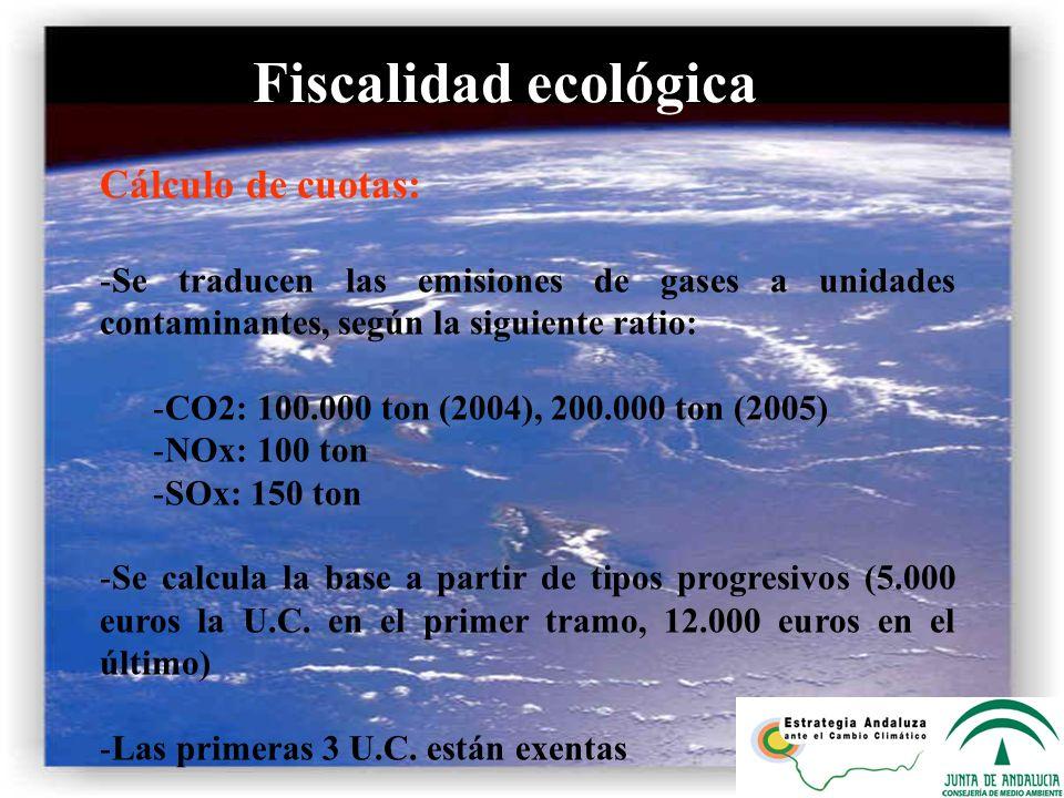 Fiscalidad ecológica Cálculo de cuotas: -Se traducen las emisiones de gases a unidades contaminantes, según la siguiente ratio: -CO2: 100.000 ton (200