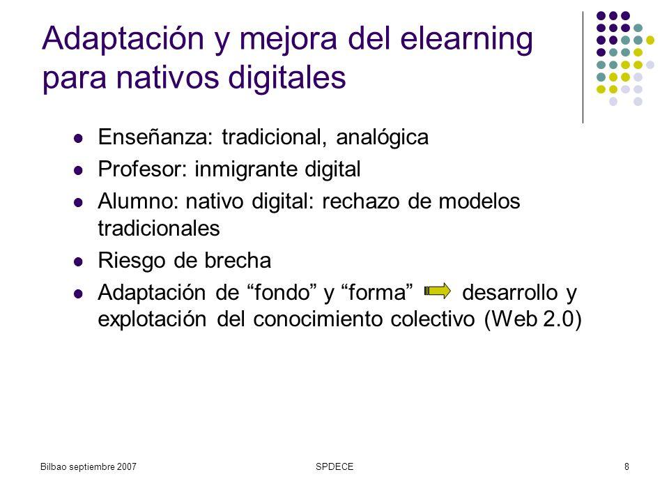 Bilbao septiembre 2007SPDECE9 Esquema comparativo de entornos de aprendizaje EntornoModelo ClásicoNuevo modelo Conocimiento y aprendizaje Estructurado, controlado Adaptable, dinámico Teoría de aprendizaje Conductismo, cognitivismo Constructivismo social, colectivismo ComunicaciónUno a muchosMuchos a muchos Tecnología (online) Blackboard, WebCT, Moodle, LAMS Flickr, elgg, del.icio.us, p2p, etc.