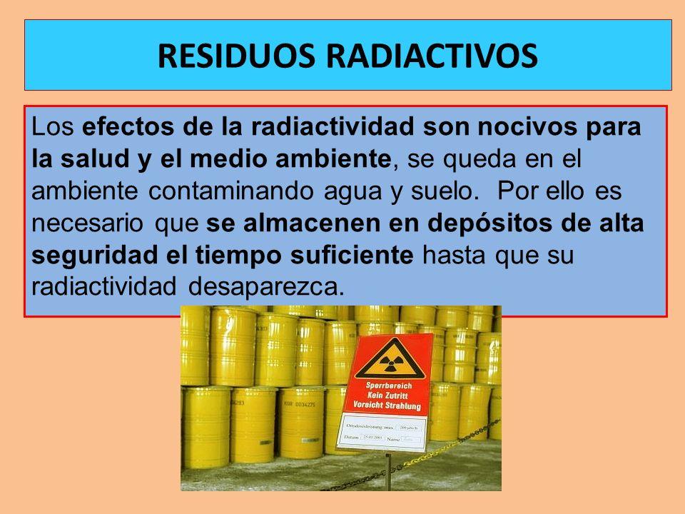 Los efectos de la radiactividad son nocivos para la salud y el medio ambiente, se queda en el ambiente contaminando agua y suelo. Por ello es necesari