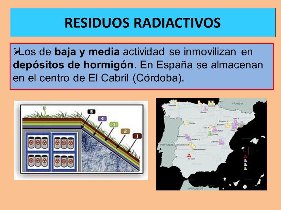 Los de baja y media actividad se inmovilizan en depósitos de hormigón. En España se almacenan en el centro de El Cabril (Córdoba). RESIDUOS RADIACTIVO