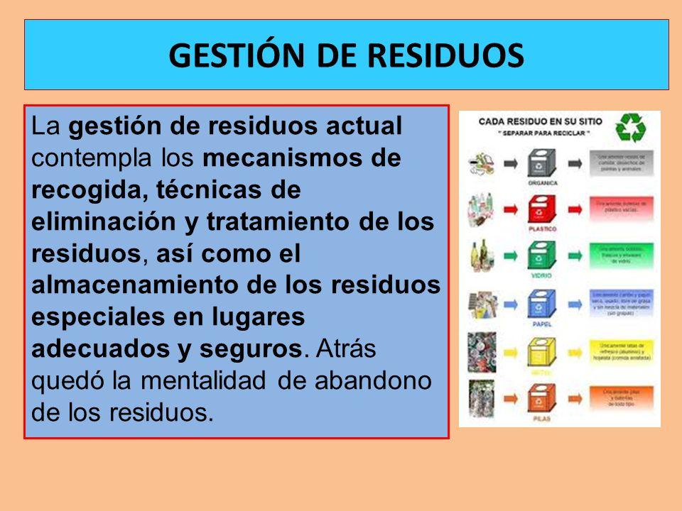 La gestión de residuos actual contempla los mecanismos de recogida, técnicas de eliminación y tratamiento de los residuos, así como el almacenamiento