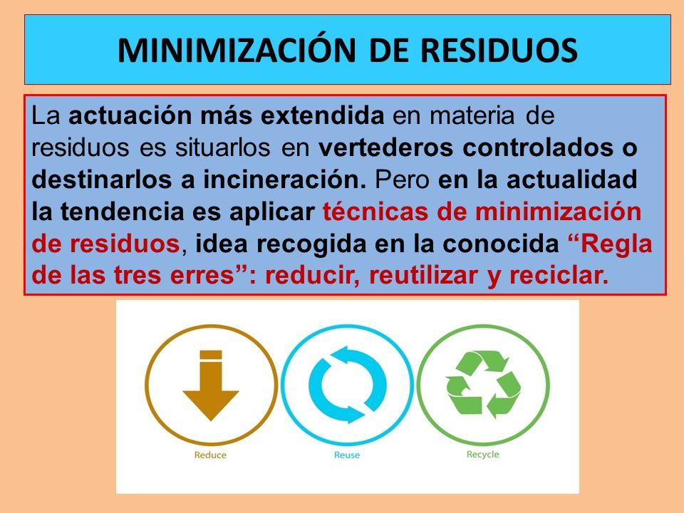 La actuación más extendida en materia de residuos es situarlos en vertederos controlados o destinarlos a incineración. Pero en la actualidad la tenden