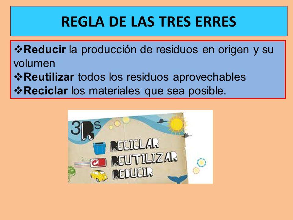 Reducir la producción de residuos en origen y su volumen Reutilizar todos los residuos aprovechables Reciclar los materiales que sea posible. REGLA DE