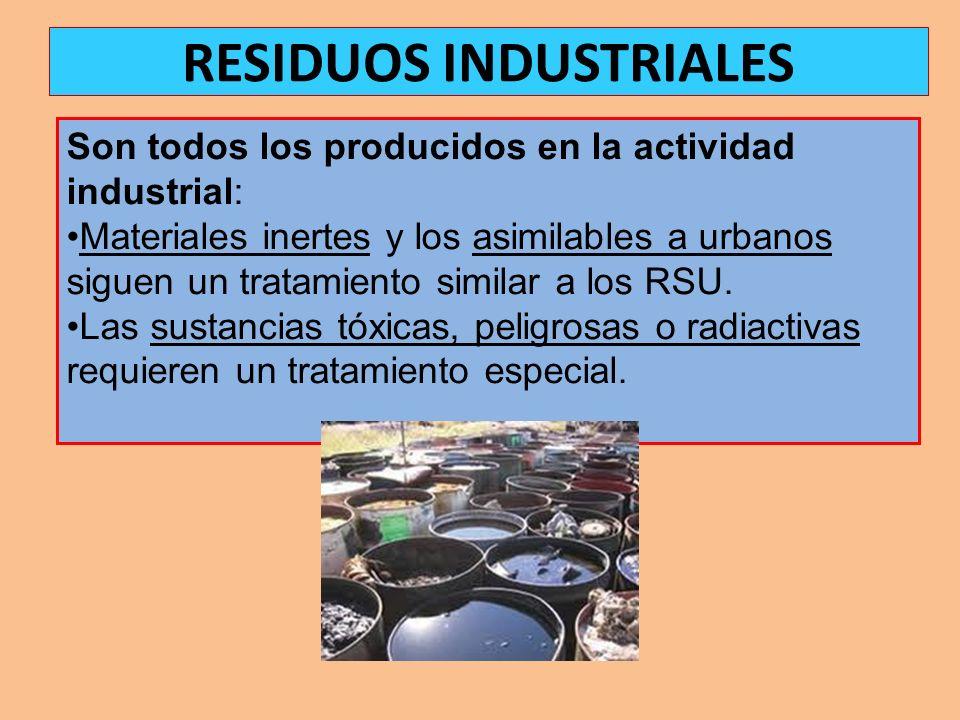 Son todos los producidos en la actividad industrial: Materiales inertes y los asimilables a urbanos siguen un tratamiento similar a los RSU. Las susta