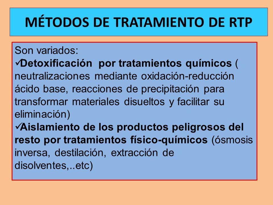 Son variados: Detoxificación por tratamientos químicos ( neutralizaciones mediante oxidación-reducción ácido base, reacciones de precipitación para tr