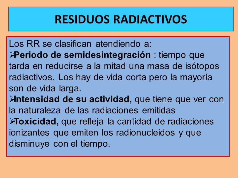 Los RR se clasifican atendiendo a: Periodo de semidesintegración : tiempo que tarda en reducirse a la mitad una masa de isótopos radiactivos. Los hay