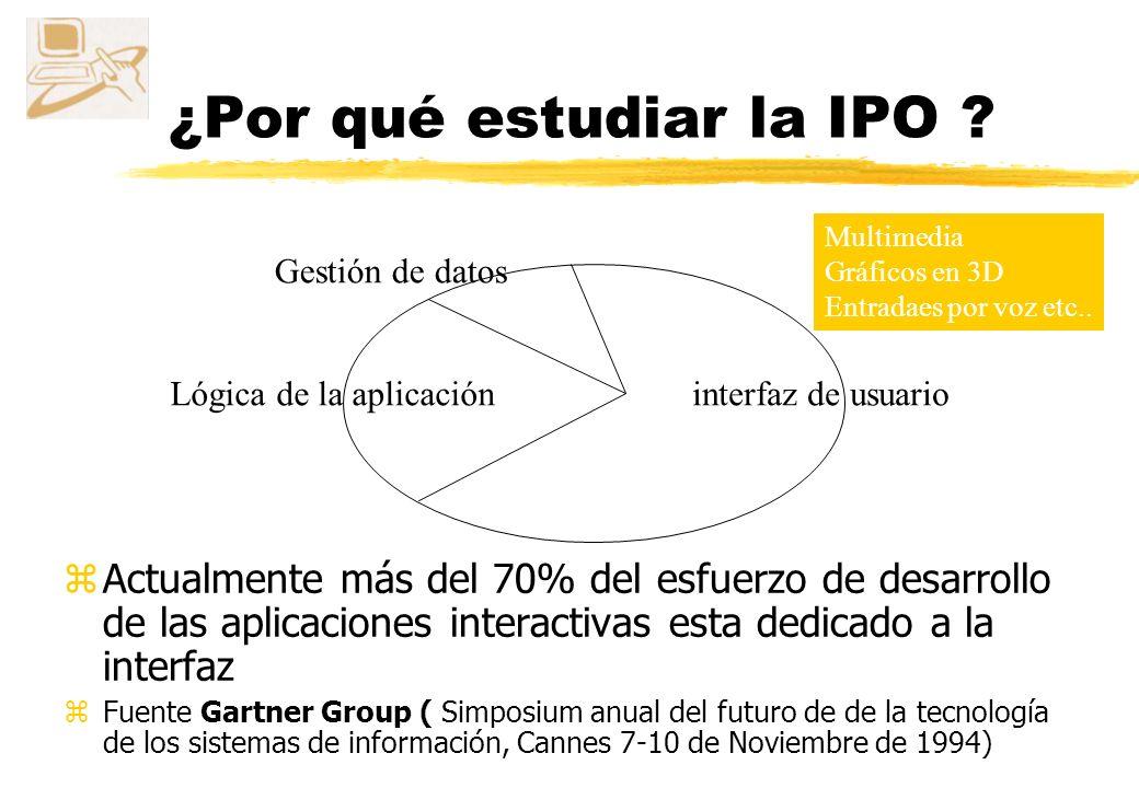 ¿Por que estudiar la IPO? zLa interfaz es una parte muy importante del éxito o fracaso de una aplicación yLa interfaz es del 47% al 60% de las líneas