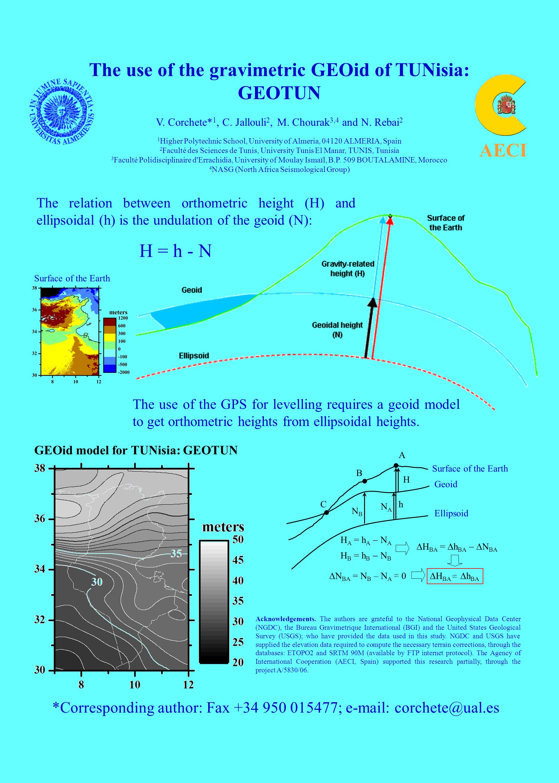The use of the gravimetric GEOid of TUNisia: GEOTUN V. Corchete* 1, C. Jallouli 2, M. Chourak 3,4 and N. Rebai 2 1 Higher Polytechnic School, Universi