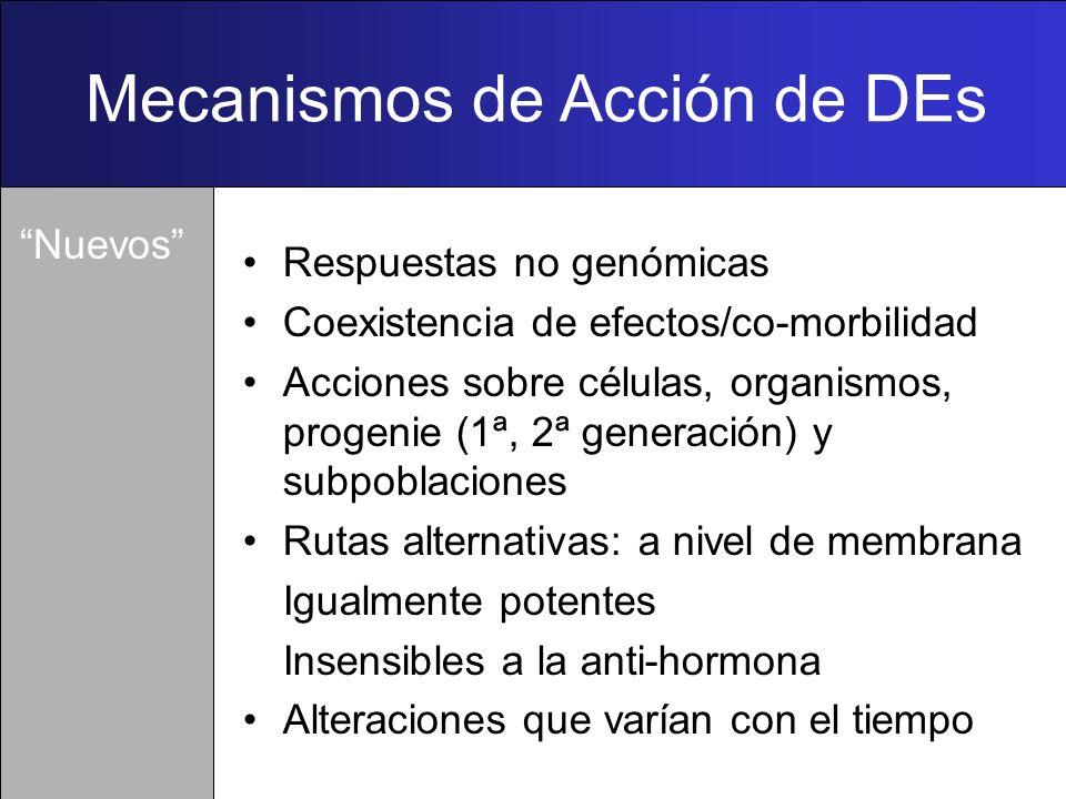 Mecanismos de Acción de DEs Imitan o bloquean la unión hormona- receptor Alteran la síntesis, metabolismo, excreción hormonal Modifican la proteína de