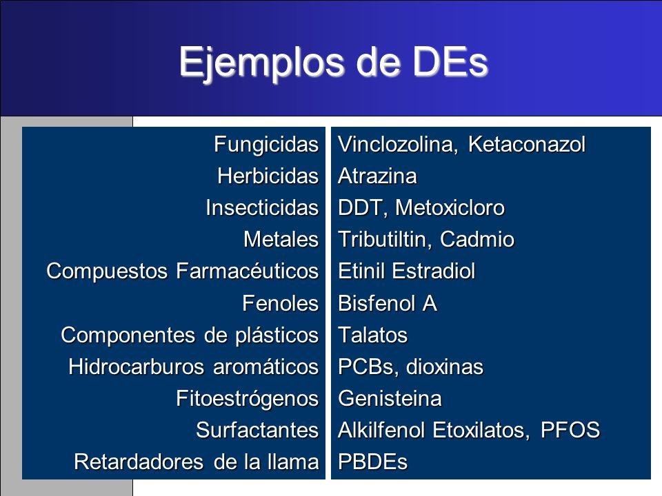 Ejemplos de DEs FungicidasHerbicidasInsecticidasMetales Compuestos Farmacéuticos Compuestos FarmacéuticosFenoles Componentes de plásticos Hidrocarburos aromáticos FitoestrógenosSurfactantes Retardadores de la llama Vinclozolina, Ketaconazol Atrazina DDT, Metoxicloro Tributiltin, Cadmio Etinil Estradiol Bisfenol A Talatos PCBs, dioxinas Genisteina Alkilfenol Etoxilatos, PFOS PBDEs