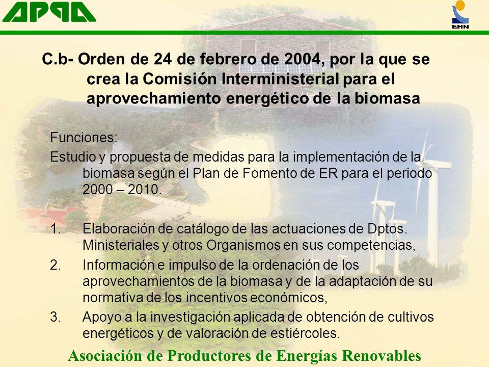 Asociación de Productores de Energías Renovables Funciones: Estudio y propuesta de medidas para la implementación de la biomasa según el Plan de Fomen