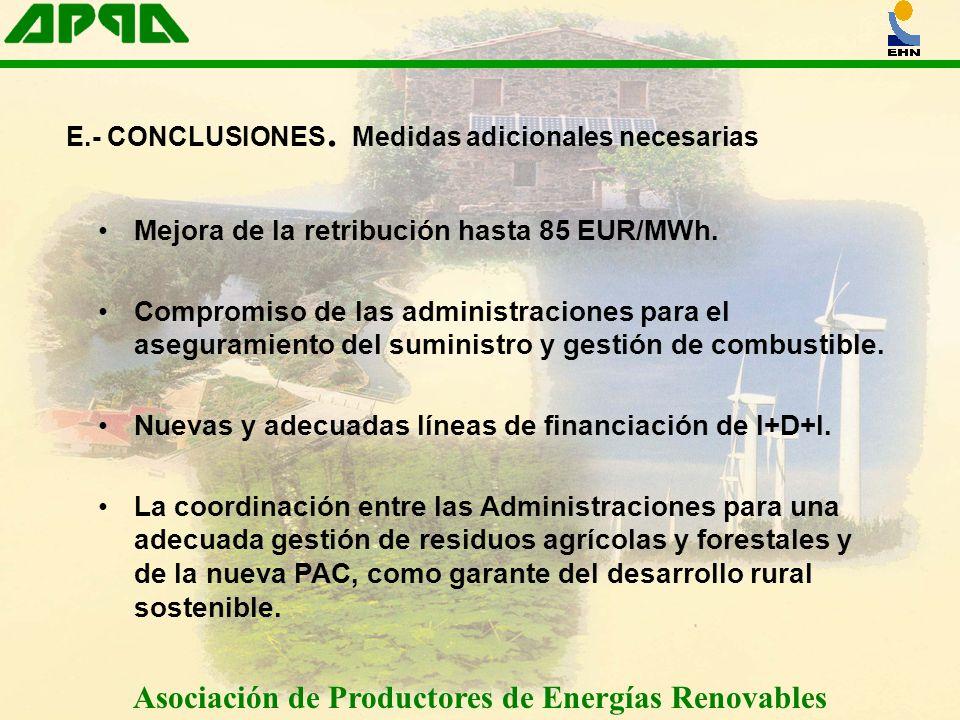 Asociación de Productores de Energías Renovables Mejora de la retribución hasta 85 EUR/MWh. Compromiso de las administraciones para el aseguramiento d