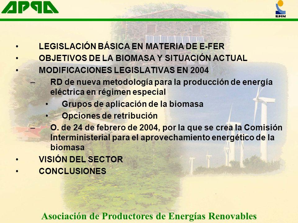 LEGISLACIÓN BÁSICA EN MATERIA DE E-FER OBJETIVOS DE LA BIOMASA Y SITUACIÓN ACTUAL MODIFICACIONES LEGISLATIVAS EN 2004 –RD de nueva metodología para la