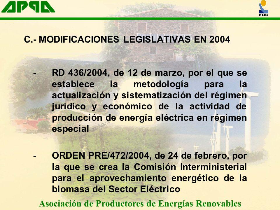 Asociación de Productores de Energías Renovables C.- MODIFICACIONES LEGISLATIVAS EN 2004 -RD 436/2004, de 12 de marzo, por el que se establece la meto