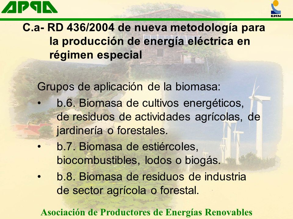 Asociación de Productores de Energías Renovables C.a- RD 436/2004 de nueva metodología para la producción de energía eléctrica en régimen especial Grupos de aplicación de la biomasa: b.6.