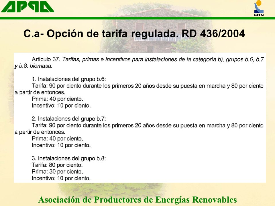 Asociación de Productores de Energías Renovables C.a- Opción de tarifa regulada.