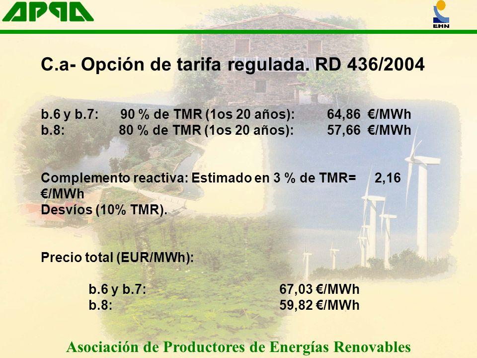 Asociación de Productores de Energías Renovables C.a- Opción de tarifa regulada. RD 436/2004 b.6 y b.7: 90 % de TMR (1os 20 años): 64,86 /MWh b.8: 80
