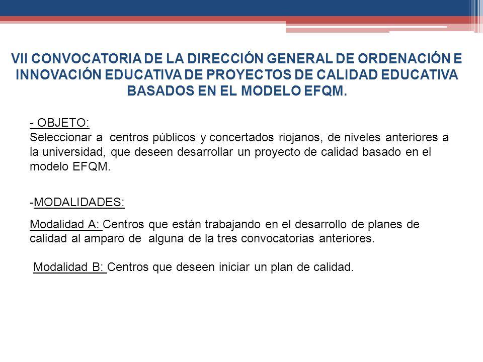 VII CONVOCATORIA DE LA DIRECCIÓN GENERAL DE ORDENACIÓN E INNOVACIÓN EDUCATIVA DE PROYECTOS DE CALIDAD EDUCATIVA BASADOS EN EL MODELO EFQM. -MODALIDADE