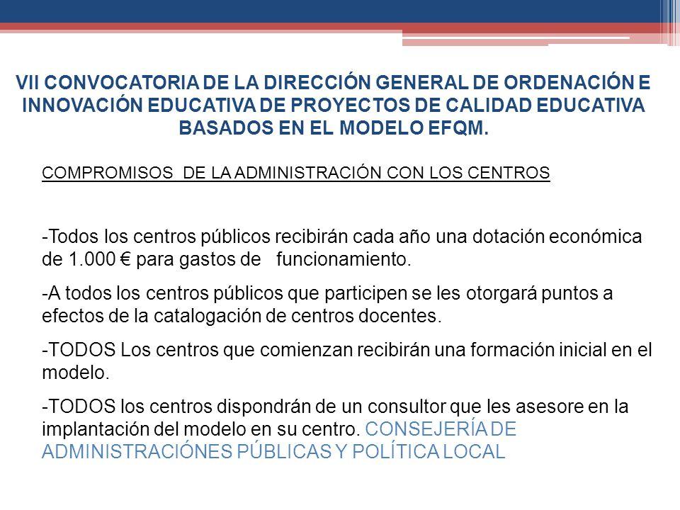 VII CONVOCATORIA DE LA DIRECCIÓN GENERAL DE ORDENACIÓN E INNOVACIÓN EDUCATIVA DE PROYECTOS DE CALIDAD EDUCATIVA BASADOS EN EL MODELO EFQM. COMPROMISOS