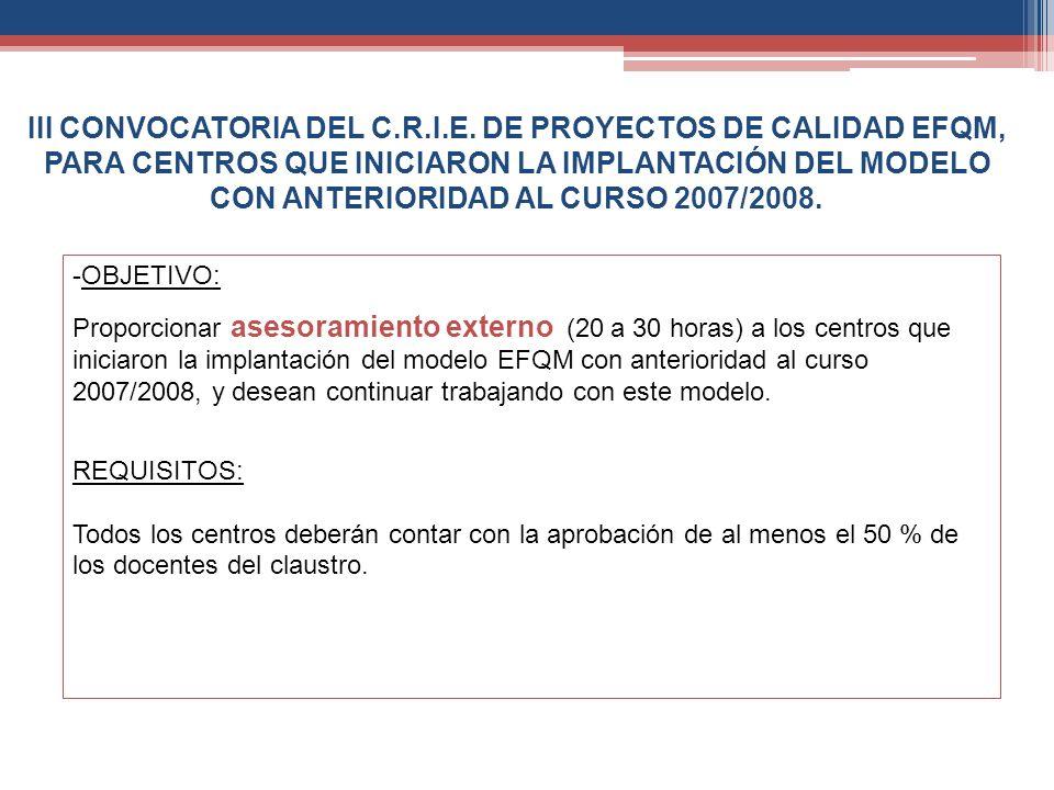 III CONVOCATORIA DEL C.R.I.E. DE PROYECTOS DE CALIDAD EFQM, PARA CENTROS QUE INICIARON LA IMPLANTACIÓN DEL MODELO CON ANTERIORIDAD AL CURSO 2007/2008.
