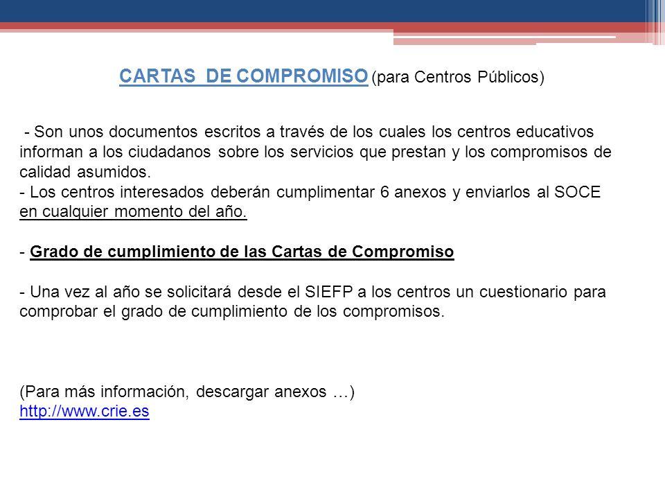 - Son unos documentos escritos a través de los cuales los centros educativos informan a los ciudadanos sobre los servicios que prestan y los compromis