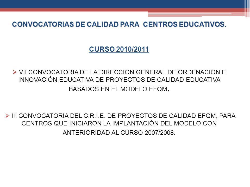 CONVOCATORIAS DE CALIDAD PARA CENTROS EDUCATIVOS CONVOCATORIAS DE CALIDAD PARA CENTROS EDUCATIVOS. CURSO 2010/2011 VII CONVOCATORIA DE LA DIRECCIÓN GE