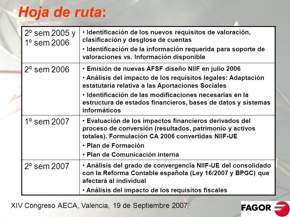 Hoja de ruta: 2º sem 2005 y 1º sem 2006 Identificación de los nuevos requisitos de valoración, clasificación y desglose de cuentas Identificación de l