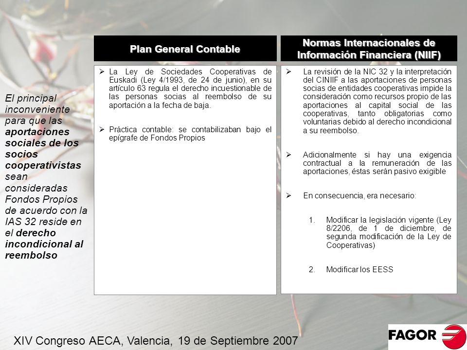El principal inconveniente para que las aportaciones sociales de los socios cooperativistas sean consideradas Fondos Propios de acuerdo con la IAS 32