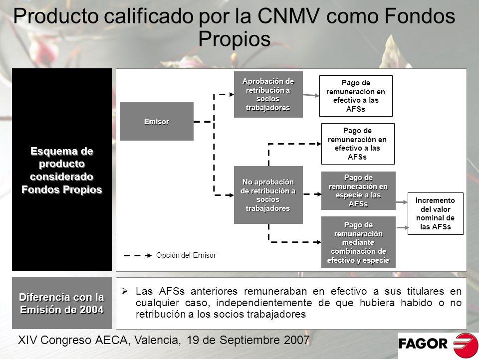 Producto calificado por la CNMV como Fondos Propios 18 Esquema de producto considerado Fondos Propios Emisor Aprobación de retribución a socios trabaj