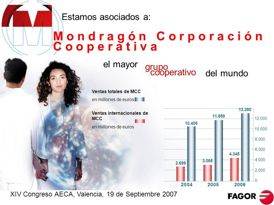 2006 2-2 índice Personas en plantilla Ventas totales en millones de euros 10.758 1.728,7 El quinto grupo europeo de electrodomésticos Grupo Fagor Electrodomésticos 47 sociedades en el perímetro de consolidación donde la compañía matriz es una Cooperativa XIV Congreso AECA, Valencia, 19 de Septiembre 2007