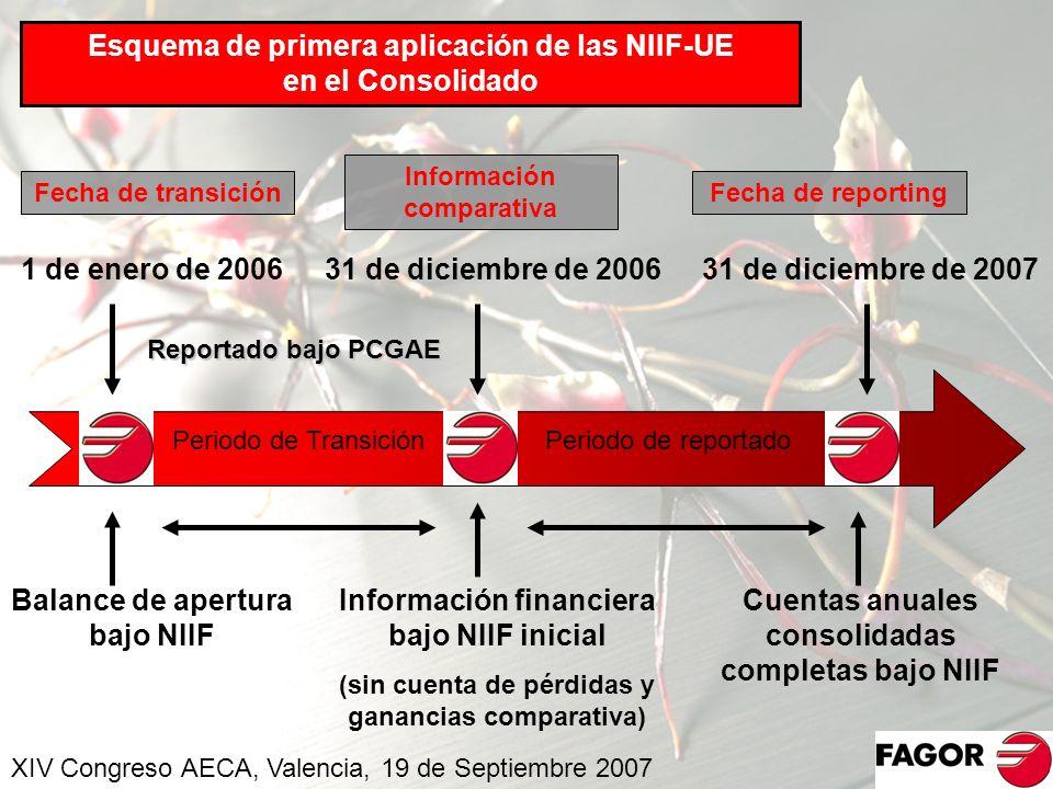 Esquema de primera aplicación de las NIIF-UE en el Consolidado Periodo de TransiciónPeriodo de reportado Fecha de transición Información comparativa F