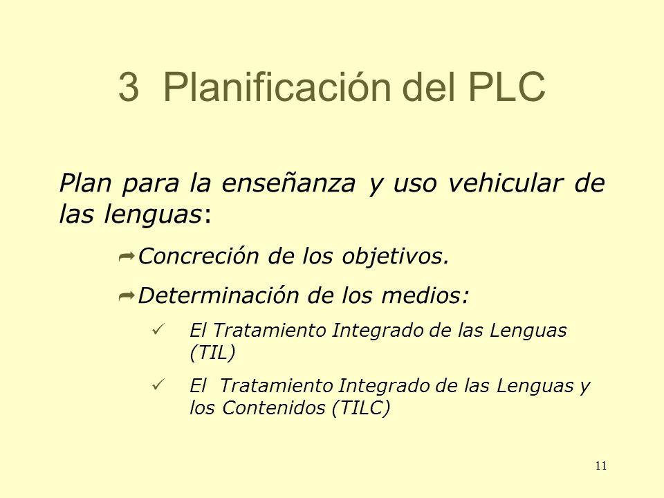 11 3 Planificación del PLC Plan para la enseñanza y uso vehicular de las lenguas: Concreción de los objetivos. Determinación de los medios: El Tratami