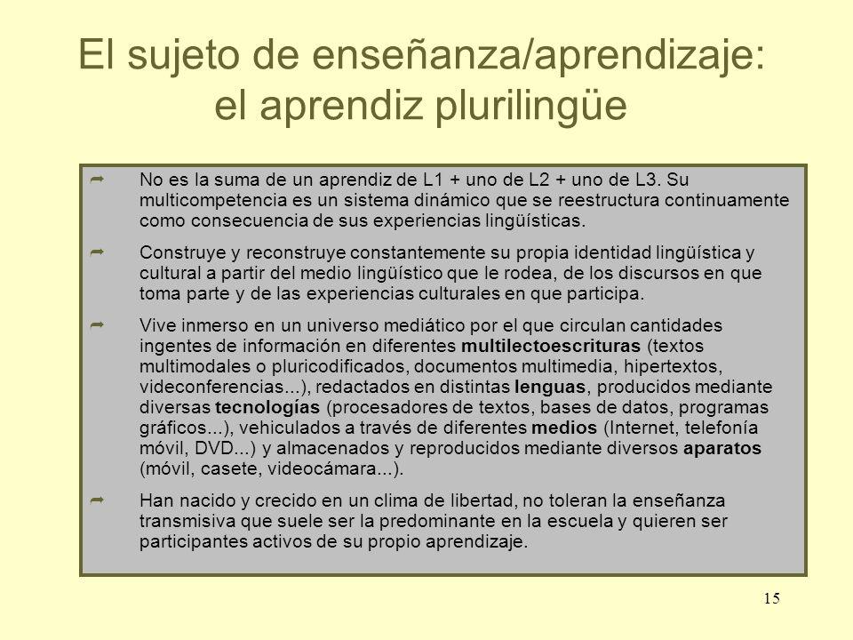 15 El sujeto de enseñanza/aprendizaje: el aprendiz plurilingüe No es la suma de un aprendiz de L1 + uno de L2 + uno de L3. Su multicompetencia es un s
