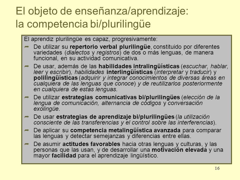 16 El aprendiz plurilingüe es capaz, progresivamente: De utilizar su repertorio verbal plurilingüe, constituido por diferentes variedades (dialectos y