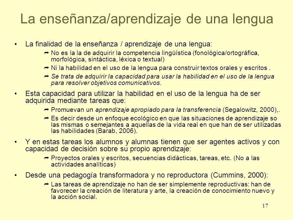 17 La enseñanza/aprendizaje de una lengua La finalidad de la enseñanza / aprendizaje de una lengua: No es la la de adquirir la competencia lingüística