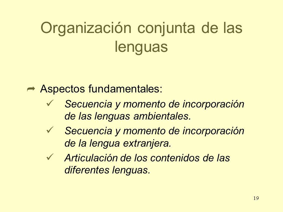 19 Organización conjunta de las lenguas Aspectos fundamentales: Secuencia y momento de incorporación de las lenguas ambientales. Secuencia y momento d