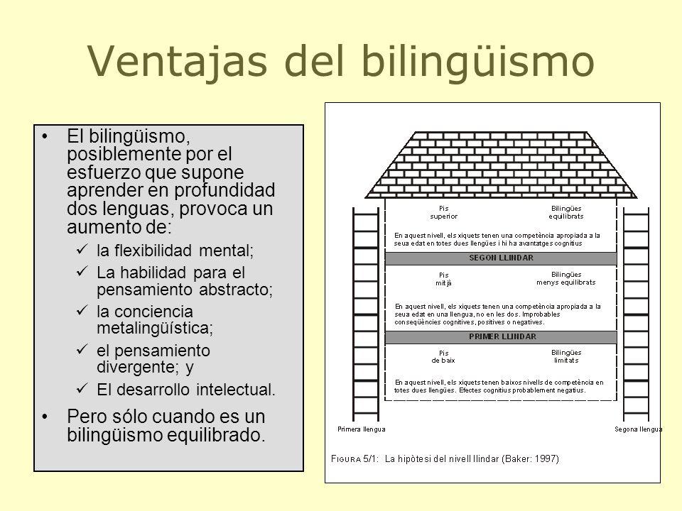 21 Ventajas del bilingüismo El bilingüismo, posiblemente por el esfuerzo que supone aprender en profundidad dos lenguas, provoca un aumento de: la fle