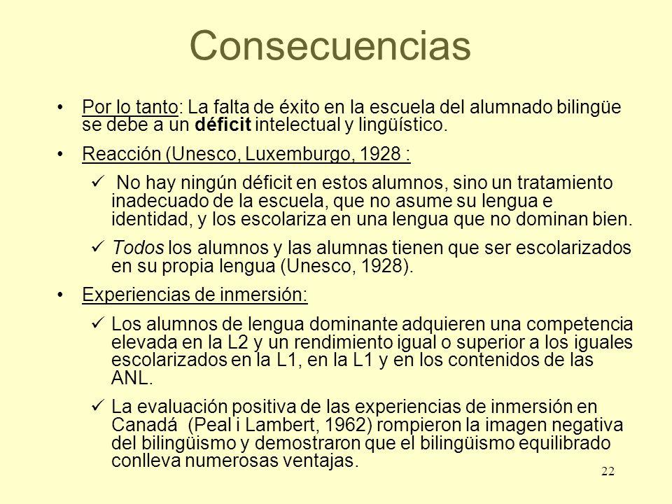 22 Consecuencias Por lo tanto: La falta de éxito en la escuela del alumnado bilingüe se debe a un déficit intelectual y lingüístico. Reacción (Unesco,