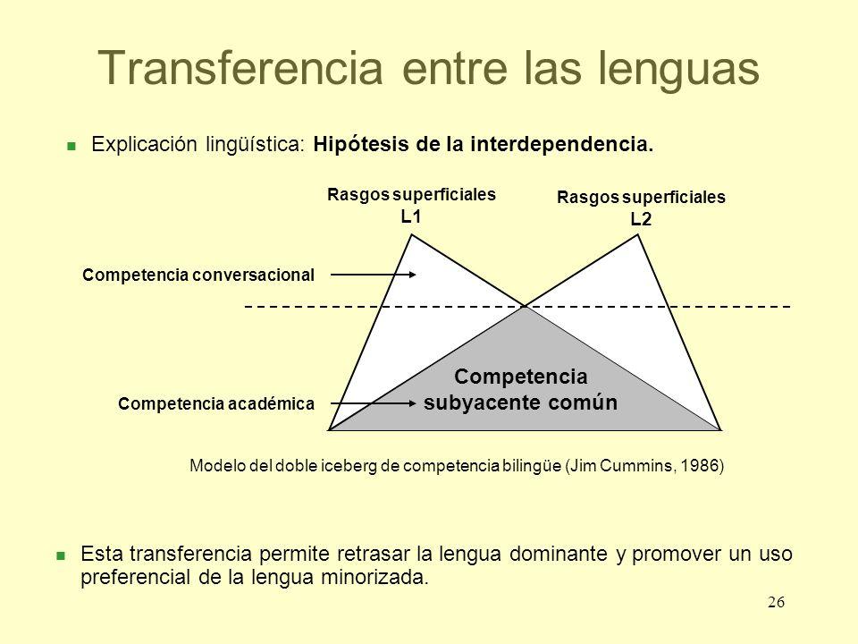 26 Transferencia entre las lenguas Competencia subyacente común Rasgos superficiales L1 Rasgos superficiales L2 Modelo del doble iceberg de competenci