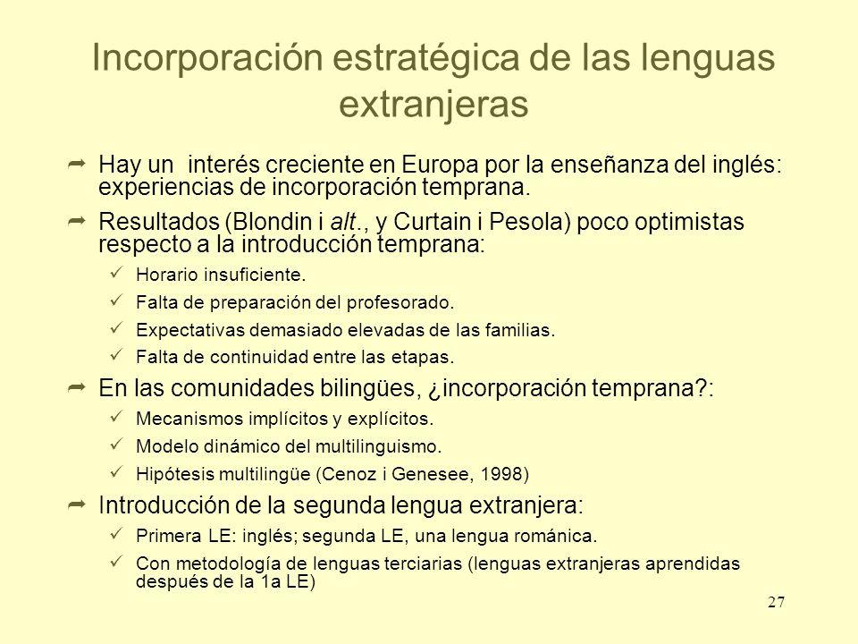27 Incorporación estratégica de las lenguas extranjeras Hay un interés creciente en Europa por la enseñanza del inglés: experiencias de incorporación