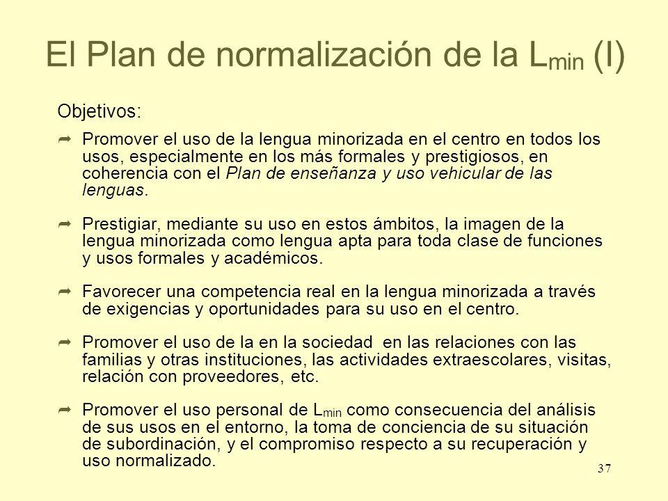 37 El Plan de normalización de la L min (I) Objetivos: Promover el uso de la lengua minorizada en el centro en todos los usos, especialmente en los má