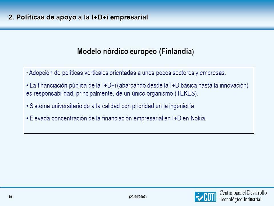 10(23/04/2007) 2. Políticas de apoyo a la I+D+i empresarial Modelo nórdico europeo (Finlandia ) Adopción de políticas verticales orientadas a unos poc