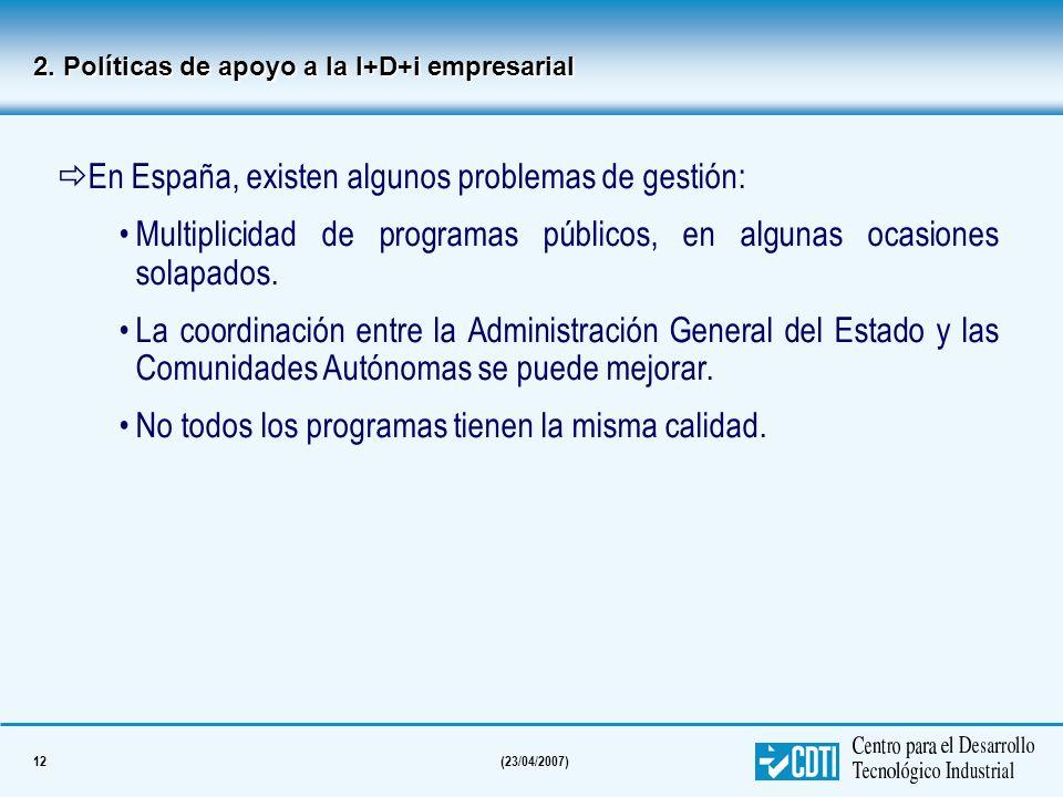 12(23/04/2007) En España, existen algunos problemas de gestión: Multiplicidad de programas públicos, en algunas ocasiones solapados. La coordinación e