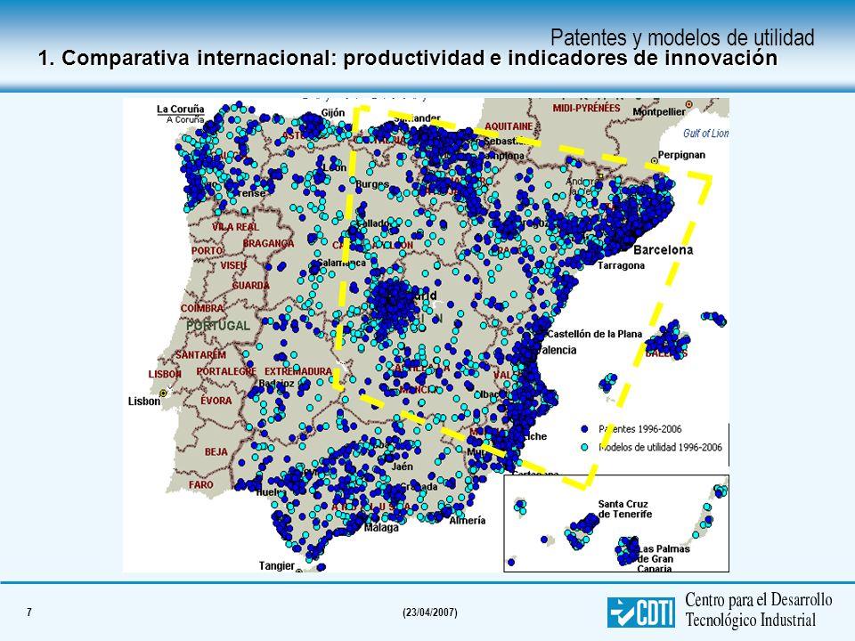 7(23/04/2007) Patentes y modelos de utilidad 1. Comparativa internacional: productividad e indicadores de innovación