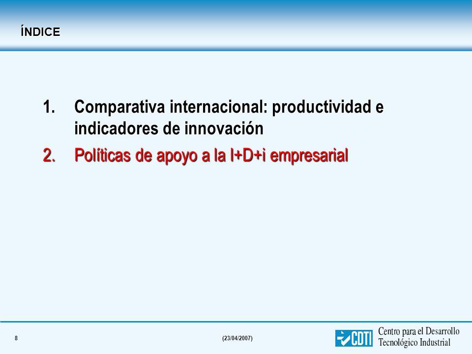 8(23/04/2007) ÍNDICE 1.Comparativa internacional: productividad e indicadores de innovación 2.Políticas de apoyo a la I+D+i empresarial
