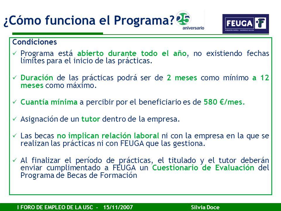 I FORO DE EMPLEO DE LA USC - 15/11/2007 Silvia Doce Condiciones Programa está abierto durante todo el año, no existiendo fechas límites para el inicio