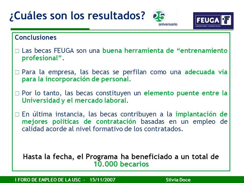 I FORO DE EMPLEO DE LA USC - 15/11/2007 Silvia Doce Conclusiones Las becas FEUGA son una buena herramienta de entrenamiento profesional. Para la empre